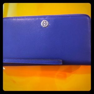 Tory Burch Continental Leather Wallet - Blue